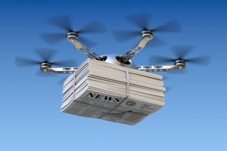 Drone with newspapers